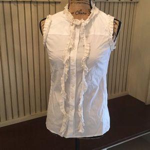 Tory Burch Silk Trim Sleeveless Blouse